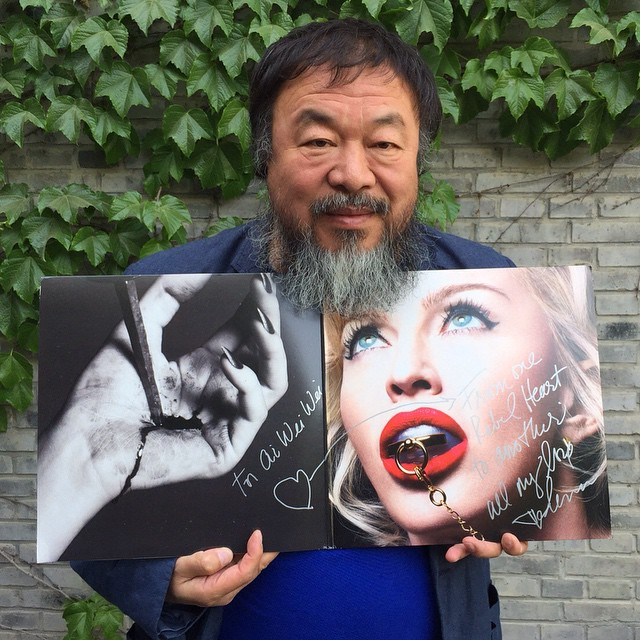 So honored to see Ai Wei Wei holding my record! A true ❤️#rebelheart all the way from Bejing! ❤️❤️??????