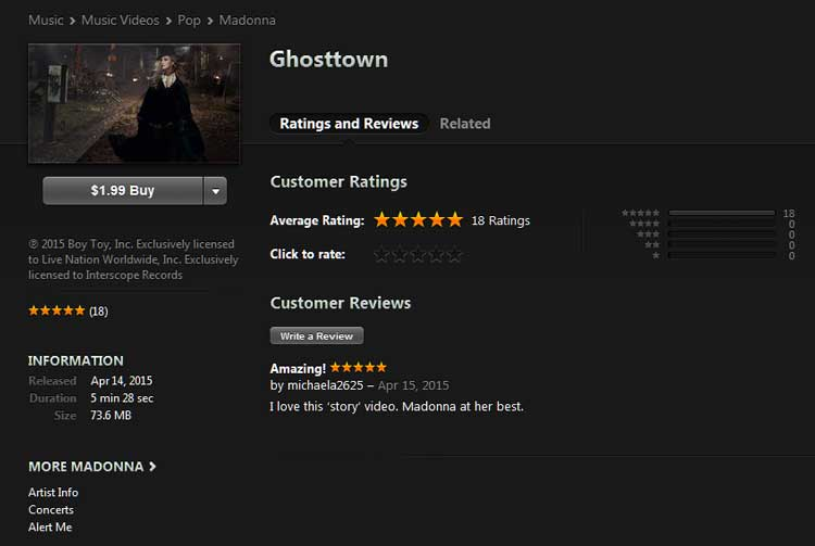 Ghosttown video on iTunes