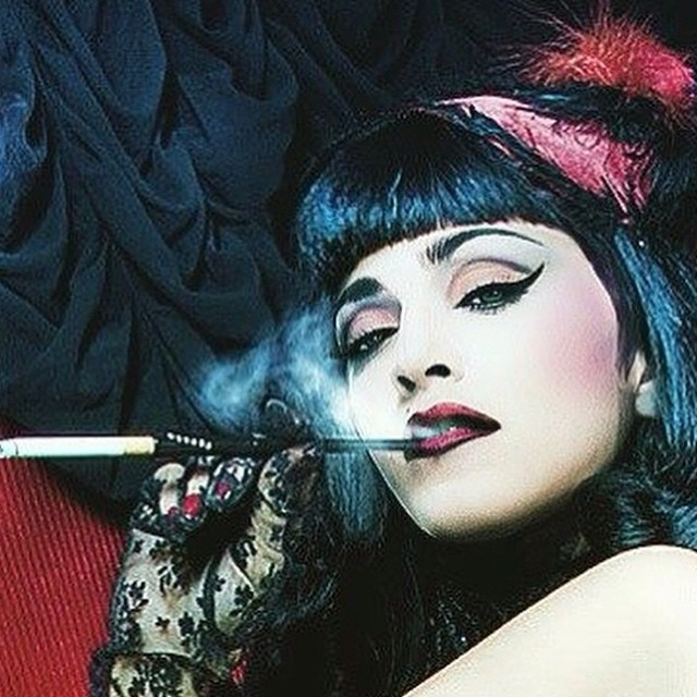 When i had blue hair.........and i worked in the Moulin Rouge I was a ❤️#rebelheart then!