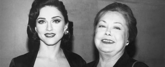 Madonna with Mathilde Krim, one of the creators of Amfar