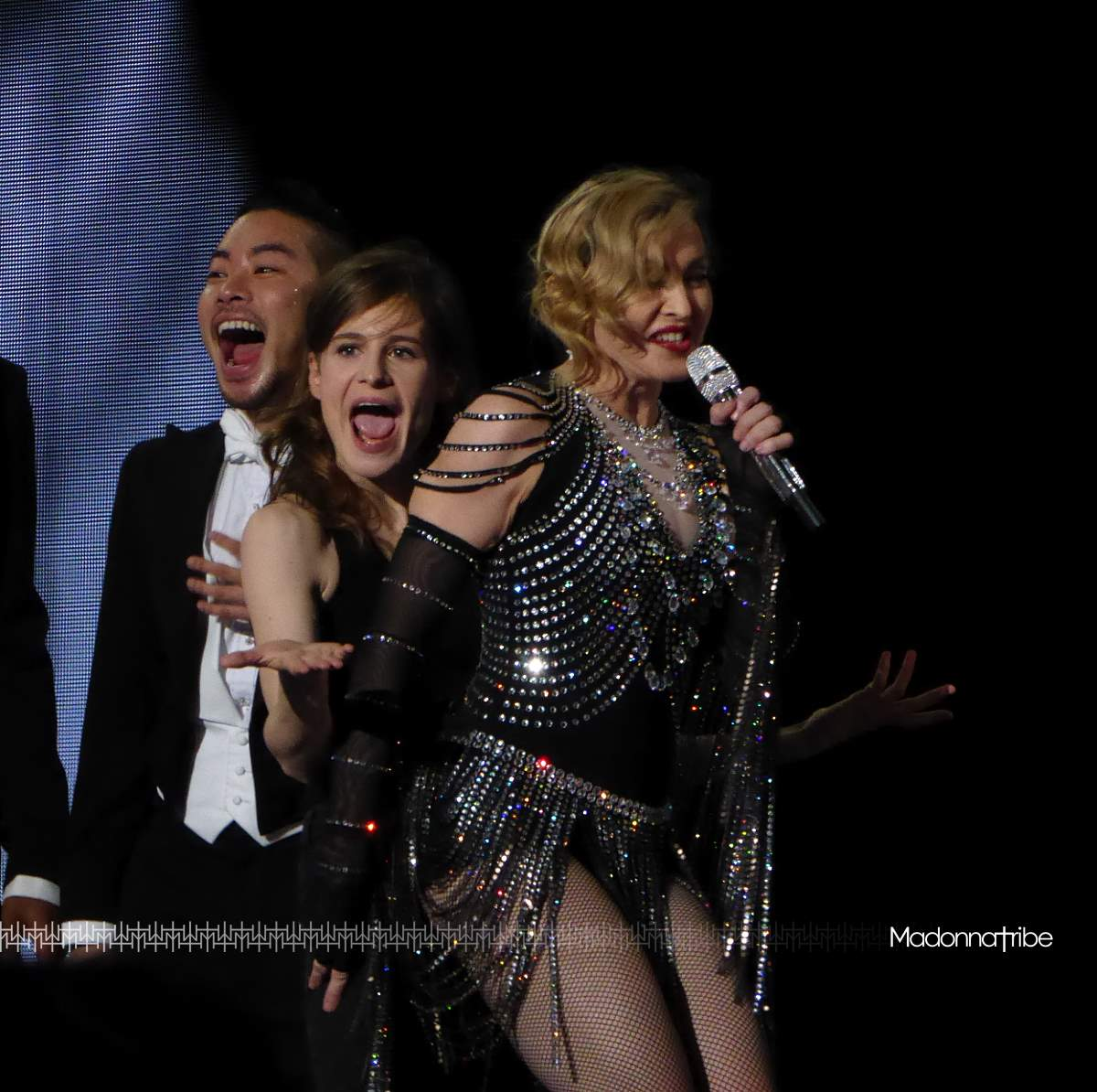Christine & The Queens on stage with Madonna in Bercy