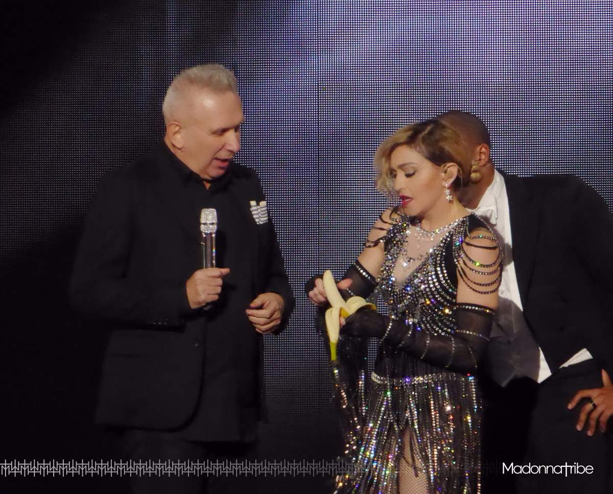 Jean-Paul Gaultier on stage with Madonna in Bercy