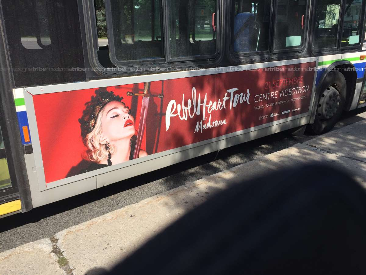 Rebel Heart Tour ad in Quebec City