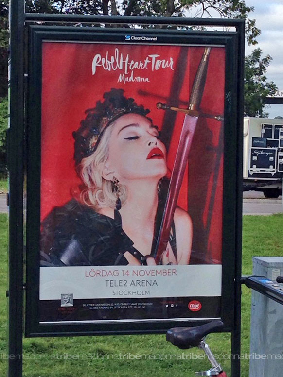 Rebel Heart Tour poster in Stockholm