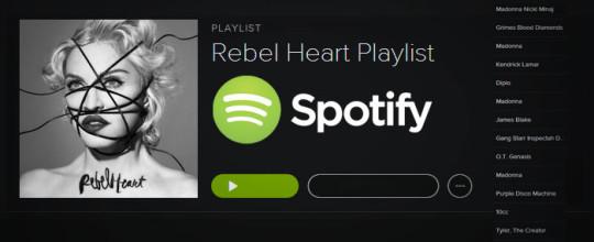 Rebel Heart Playlist on Spotify